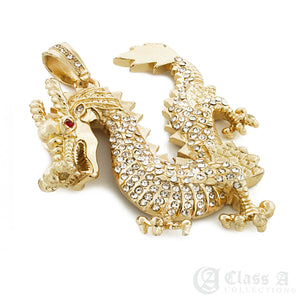 14K GD PT XL Iced Ruby Eyed Golden Dragon Pendant with Cuban Chain Hip Hop Necklace - KC2048