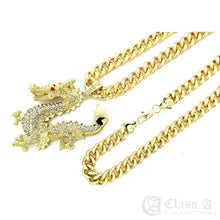 Load image into Gallery viewer, 14K GD PT XL Iced Ruby Eyed Golden Dragon Pendant with Cuban Chain Hip Hop Necklace - KC2048
