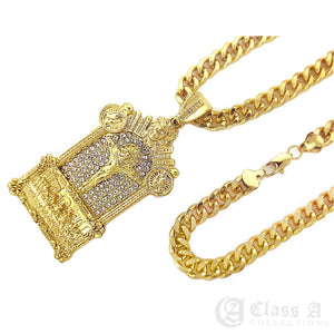 14K GD PT XL Iced Ruby Eyed Golden Dragon Pendant with Cuban Chain Hip Hop Necklace - KC2235