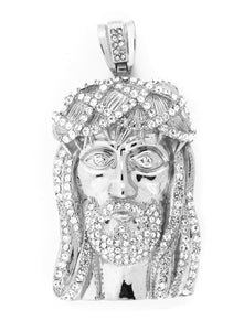 Iced Native Indian Chief Pendant with Rope Chain Necklace - KC3015