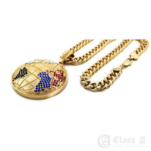 Load image into Gallery viewer, 14K GD PT XL Iced World Globe Pendant with Cuban Chain Hip Hop Necklace - KC3097