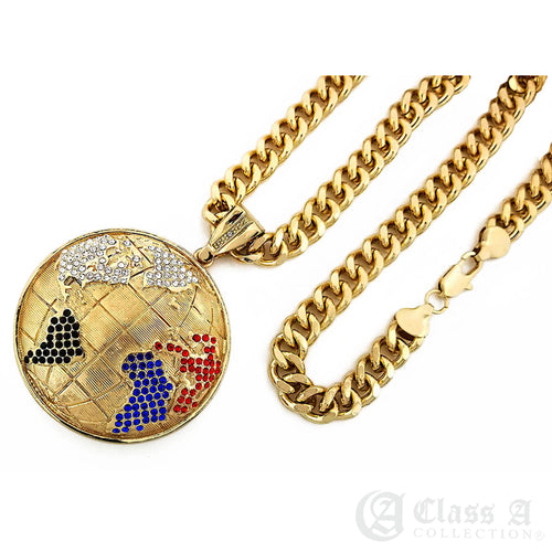 14K GD PT XL Iced World Globe Pendant with Cuban Chain Hip Hop Necklace - KC3097