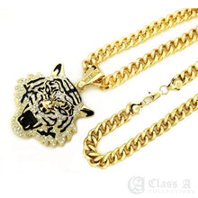 Load image into Gallery viewer, 14K GD PT XL Iced Roaring Tiger Pendant with Cuban Chain Hip Hop Necklace - KC3435