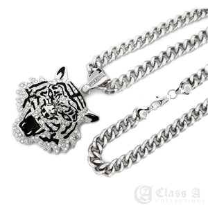 14K GD PT XL Iced Roaring Tiger Pendant with Cuban Chain Hip Hop Necklace - KC3435