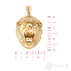 14K GD PT XL Iced Roaring Lion Pendant with Cuban Chain Hip Hop Necklace - KC3499