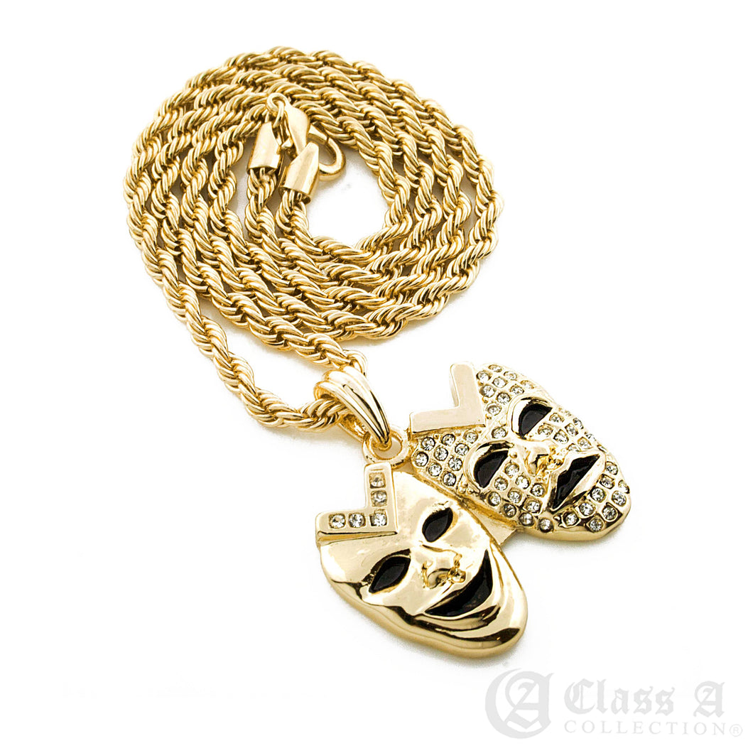 Iced Drama Two Faces Pendant with Rope Chain Hip Hop Necklace - KC7059
