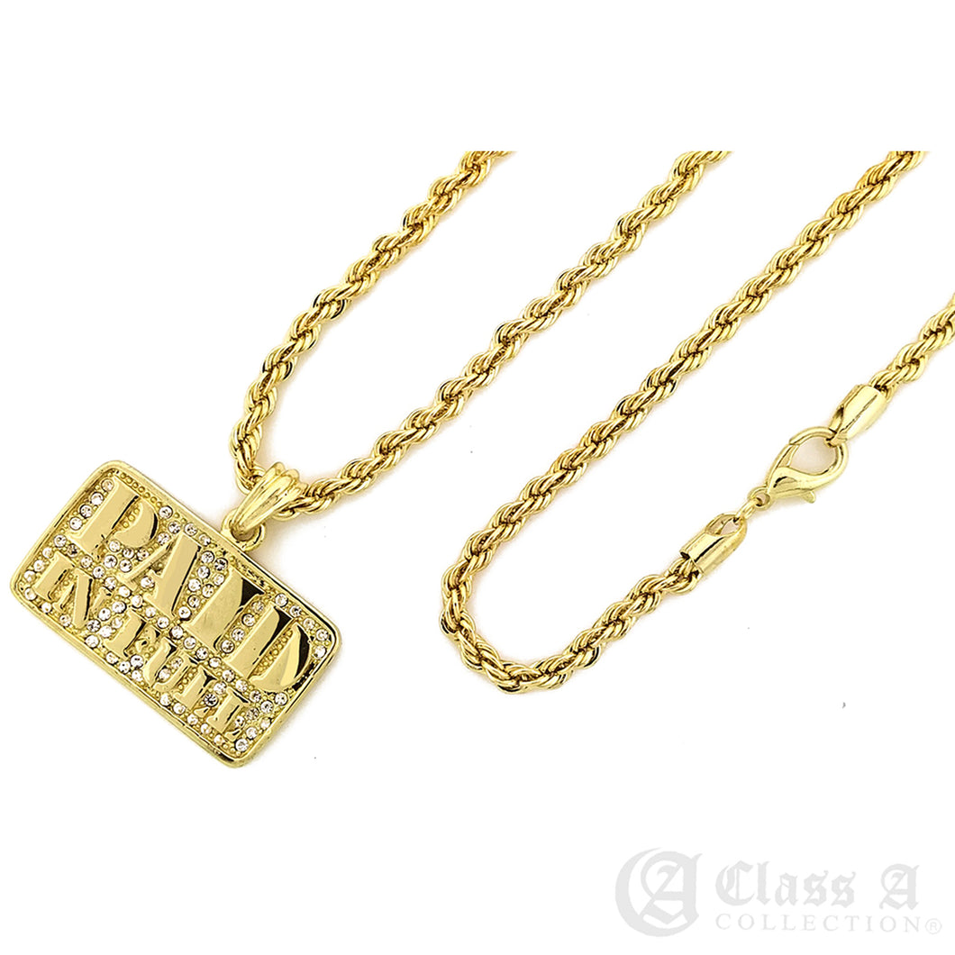 14K GD PT Iced Paid in Full Pendant with Rope Chain Hip Hop Necklace - KC7515