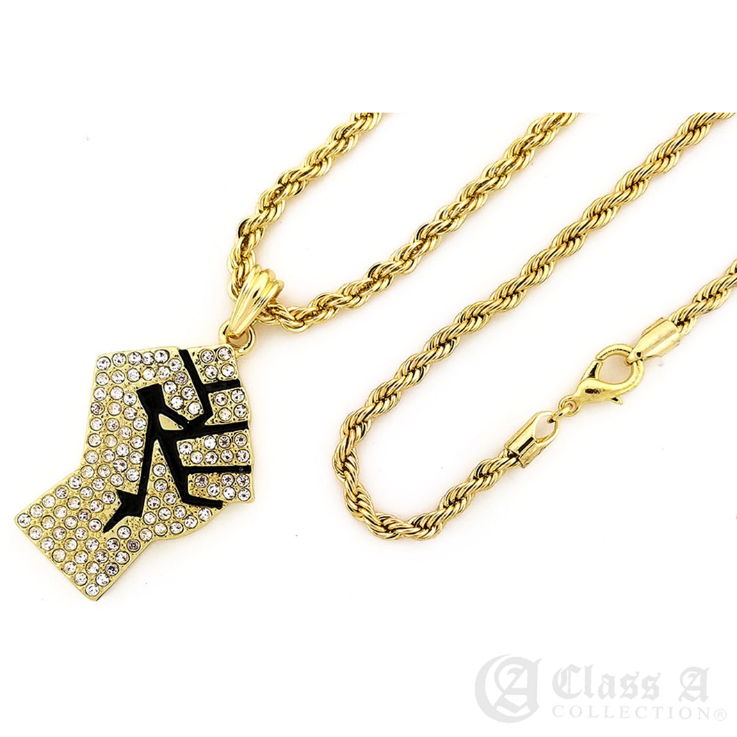 14K GD PT Iced Fist Pendant with Rope Chain Hip Hop Necklace - KC7519