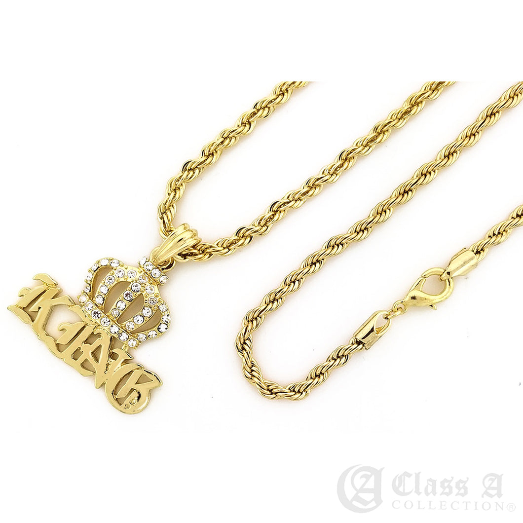 14K GD PT Iced Crowned King Pendant with Rope Chain Hip Hop Rappers Necklace - KC7522