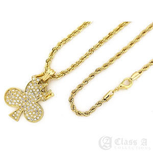 14K GD PT Iced Crowned Irish Clover Pendant with Rope Chain Hip Hop Rappers Necklace - KC7523