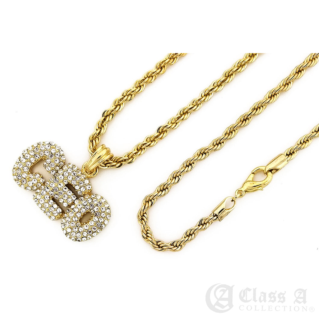 14K GD PT Iced CEO Pendant with Rope Chain Hip Hop Rappers Necklace - KC7524