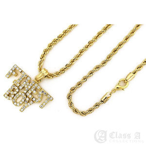 14K GD PT Iced FINEST BOY Pendant with Rope Chain Hip Hop Rappers Necklace - KC7525