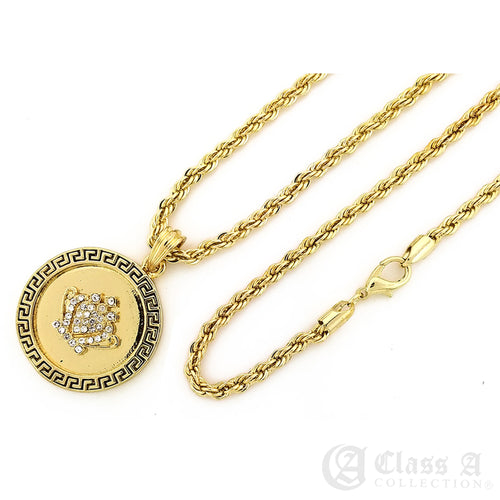 14K GD PT Iced Crown on Greek Coin Pendant with Rope Chain Hip Hop Rappers Necklace - KC7530