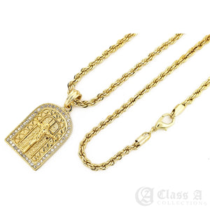 14K GD PT Iced Jesus on Heavenly Door Pendant with Rope Chain Hip Hop Rappers Necklace - KC7534