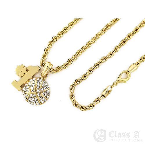 14K GD PT Iced No.1 Basketball Pendant with Rope Chain Hip Hop Rappers Necklace - KC7535