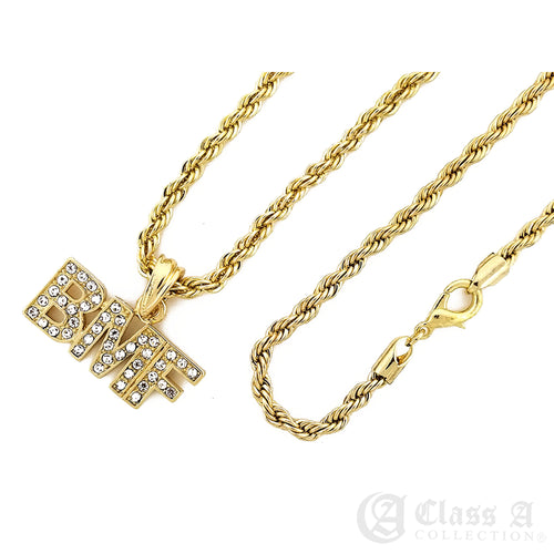 14K GD PT Iced BMF Pendant with Rope Chain Hip Hop Rappers Necklace - KC7537