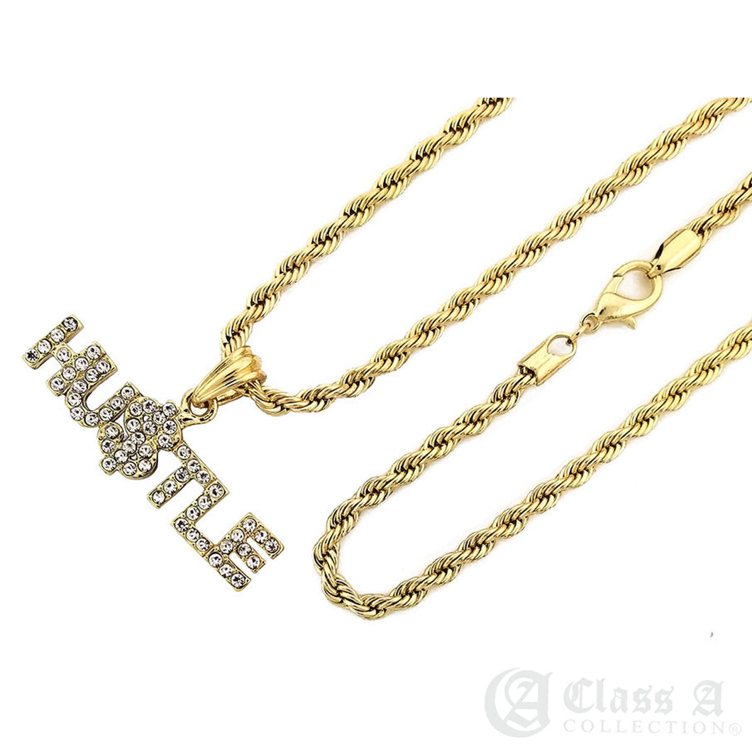 14K GD PT Iced HUSTLE Pendant with Rope Chain Hip Hop Rappers Necklace - KC7540