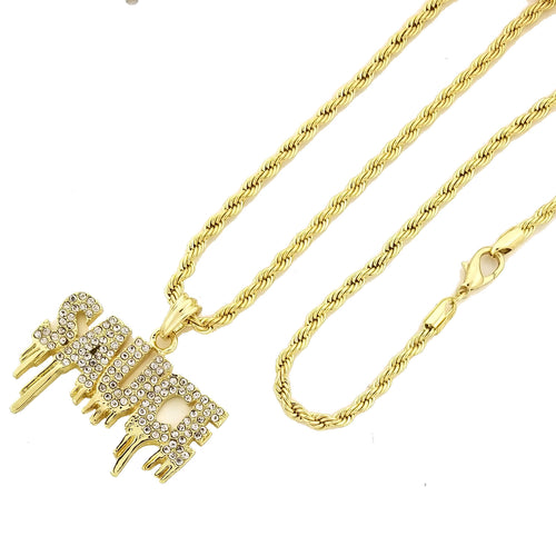 14K GD PT Iced Drippin' Sauce Pendant with Rope Chain Hip Hop Rappers Necklace - KC7549