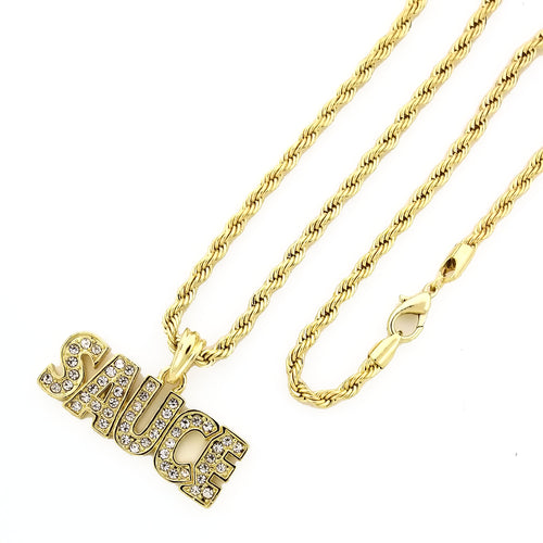 14K GD PT Iced SAUCE Pendant with Rope Chain Hip Hop Rappers Necklace - KC7550