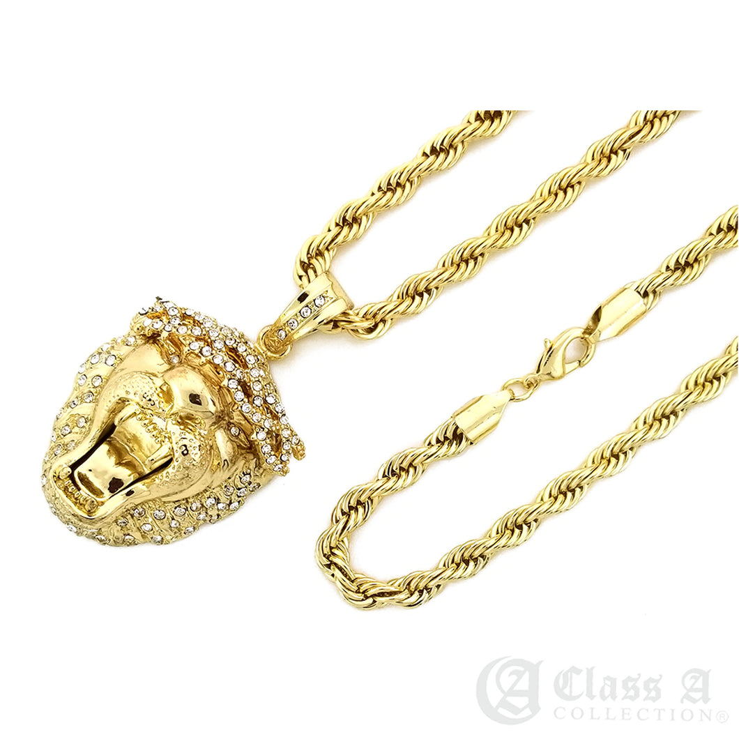 14K GD PT Lab Diamond Iced Roaring Lion Pendant with Rope Chain Hip Hop Necklace - KC8009