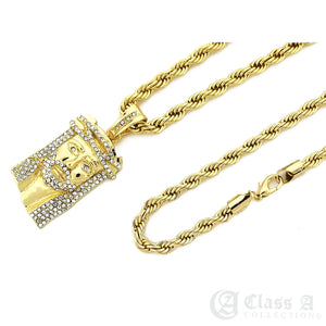 14K GD PT Iced Double Diamond Crown on Jesus Pendant with Rope Chain Necklace - KC8031