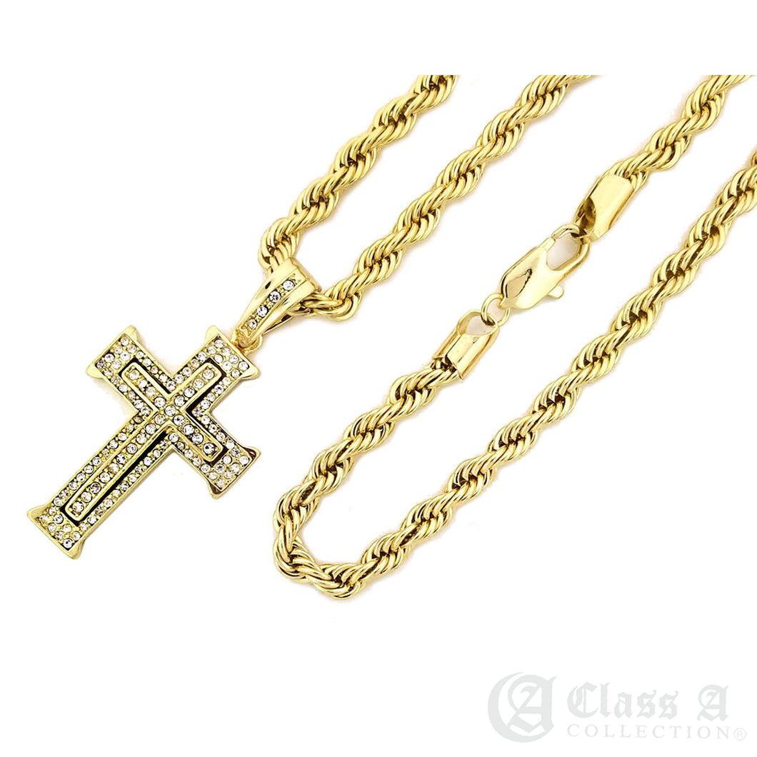 Double Diamond Iced Cross Pendant with Rope Chain Necklace - KC8032