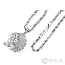 Load image into Gallery viewer, Iced Native Indian Chief Pendant with Rope Chain Necklace - KC8034