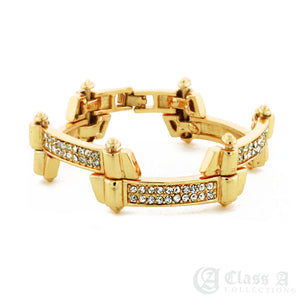 Men's 18K GD PT Iced Lab-Diamond Zig Zag Hip Hop Fashion Bracelet - KDB508