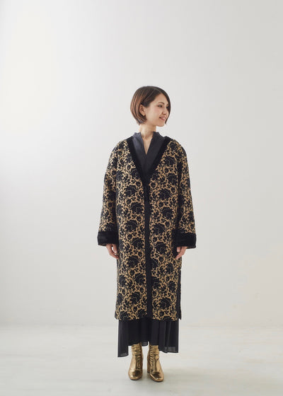 Black and gold long jacquard jacket | Rue Saint Paul