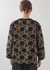 Black and gold jacquard jacket | Rue Saint Paul