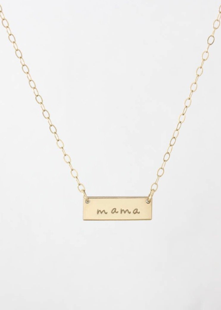 Mama mini bar gold necklace | Conscious Jewelry | Rue Saint Paul