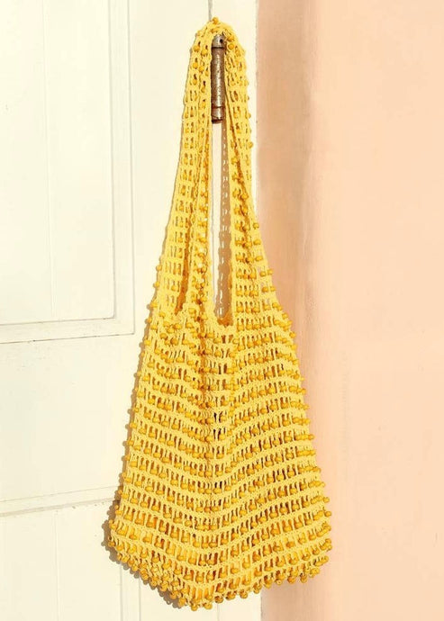 Yellow beaded crochet tote | Ethical Bags | Rue Saint Paul