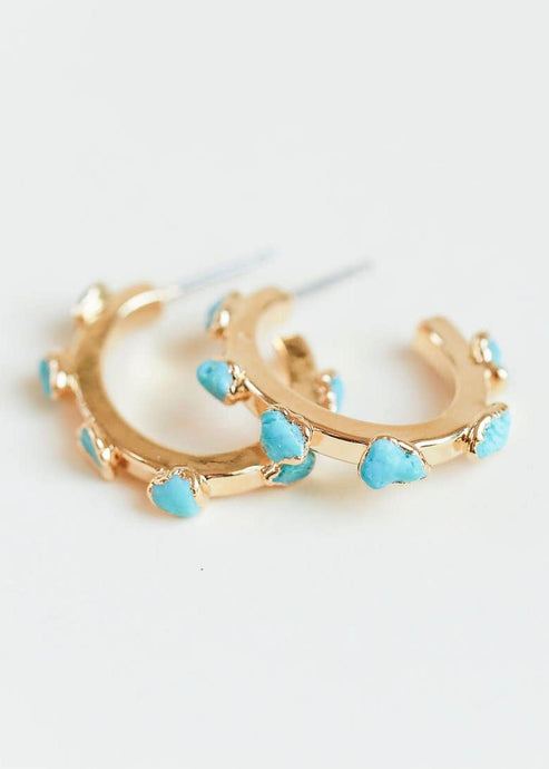 Turquoise gold | hoops