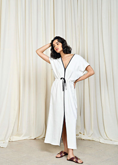 Ava | Drawstring white cotton dress | Rue Saint Paul