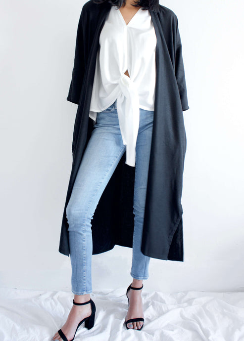 Bardi | Silk noil black duster| Rue Saint Paul