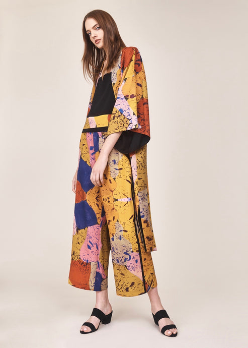 Reversible golden print long kimono  | Crono Zee | Rue Saint Paul