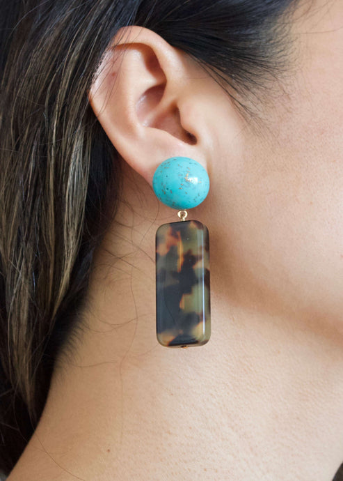 Santa Fe Loretto | Turquoise tortoise shell drop earrings | Rue Saint Paul