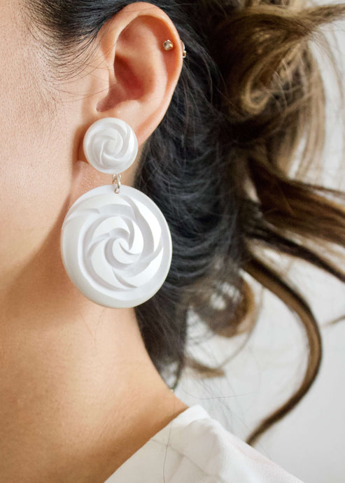 Santorini Snow | White disc drop earrings | Rue Saint Paul