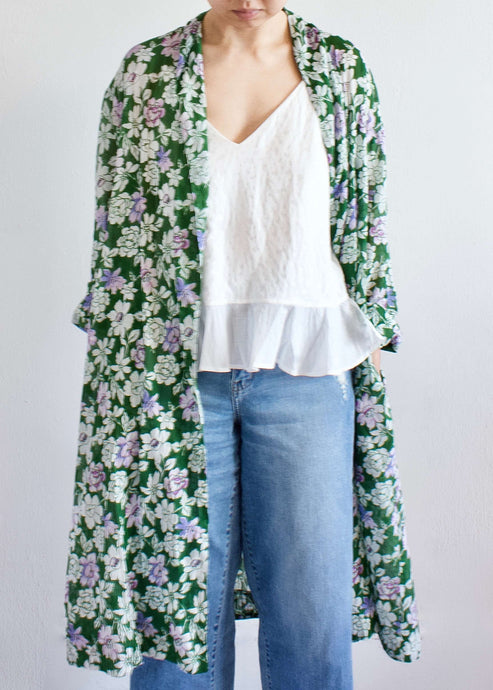 Andalusia | Green flower belted duster | Rue Saint Paul