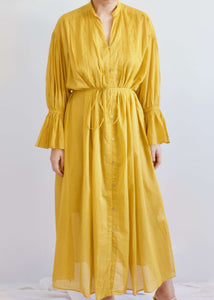 Valencia | Pin tuck dress with ruffled bell sleeves | Rue Saint Paul