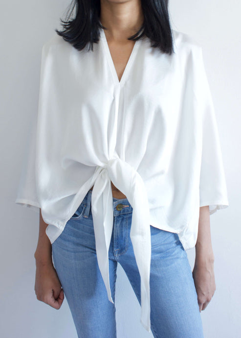 Kahlo | White silk charmeuse tie top | Rue Saint Paul
