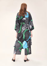 Reversible green and black print long kimono  | Crono Zee | Rue Saint Paul