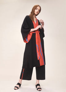 Reversible red print long kimono  | Crono Zee | Rue Saint Paul