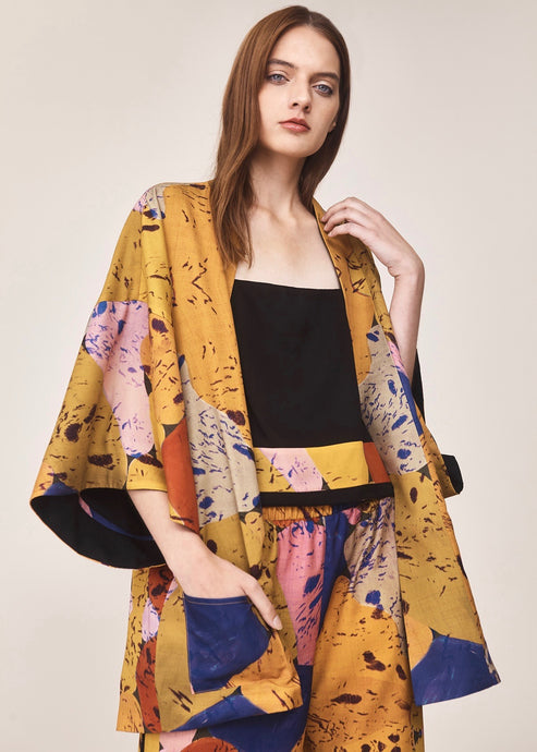 Reversible golden print short kimono  | Crono Zee | Rue Saint Paul