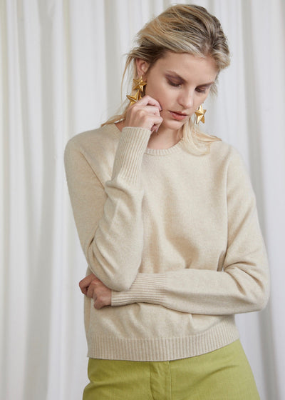 Beige sweater | Possum Merino | Rue Saint Paul