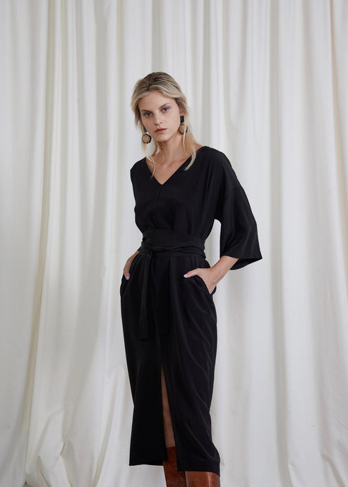 Black silk front tie dress | Silk crepe de chine | Rue Saint Paul
