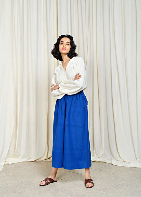 Palace | Extra-wide leg cropped cyan blue pants | Rue Saint Paul