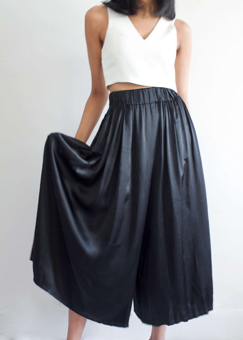 Palazzo | Black silk charmeuse wide leg pants | Rue Saint Paul