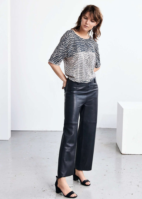 Madelin | High waist, wide legged leather trousers | Rue Saint Paul
