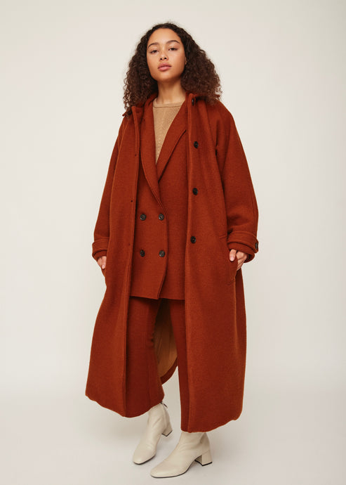 Burnt orange oversized wool coat | 100% virgin wool | Rue Saint Paul